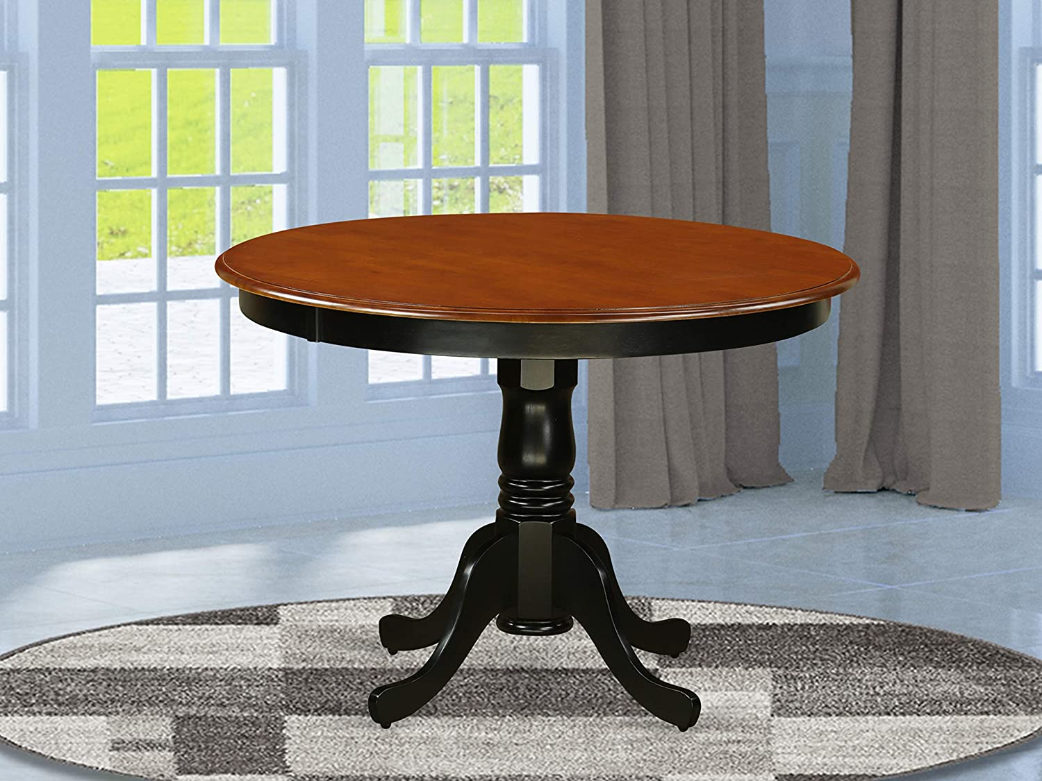 East West Furniture Hartland Dining Room Table-Mahogany Table Top Surface and Black Finish legs Hardwood Frame Modern Dining Table