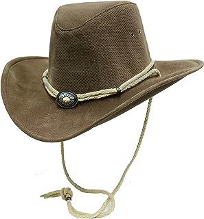 BRANDSLOCK Para Hombre de la Vendimia del Borde Grande Vaquero Australiano Estilo Occidental Sombrero con Bush Chin Cord