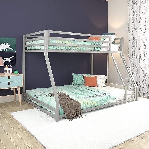 DHP Miles Metal Bunk Bed Silver Twin Full