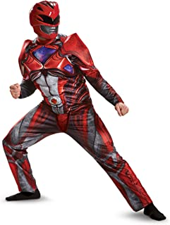 Disguise Men's Red Ranger Movie Muscle Adult Costume