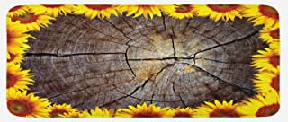 Lunarable Sunflower Kitchen Mat, Cut Section Wood Stump with Sunflowers Seeds Tree Trunk Rustic Ornamental, Plush Decorative Kithcen Mat with Non Slip Backing, 47