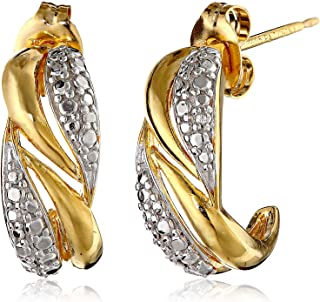 Two Tone 14k Yellow Gold Plated 925 Sterling Silver Twisted J-Hoop Earrings