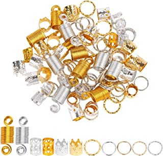 200 Pieces Dreadlocks Beads Set Hair Rings Jewelry for Braids 6 Styles Dreadlocks Accessories Hair Cuffs Metal Hair Braiding Hair Decorations - Gold and Silver