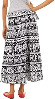 FEMEZONE Women's Traditional and Jaipuri Print Cotton Wrap-Around Skirt