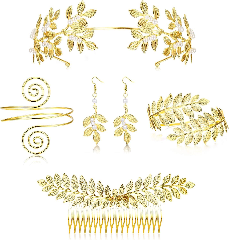 LOYALLOOK 5Sets Grecian Goddess Costume Accessories Set Greek Leaf Headband...