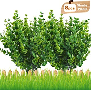 NEWSTART Artificial Shrubs, Lifelike Fake Greenery Plants Flowers for Garden, Patio, Yard, Wedding, Office, Farmhouse and Balcony Decoration, 14'' - 8 Bunches