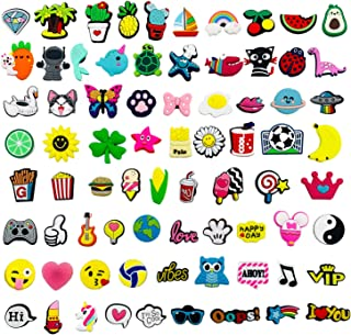 Kinear 75pcs Cute Different Shape Shoes Charms for Clog Shoes Bands Bracelet Wristband Party Gifts