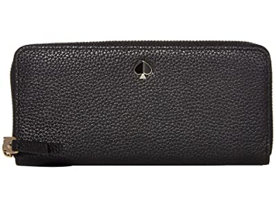 Kate Spade New York Polly Slim Continental Wallet (Black) Wallet Handbags
