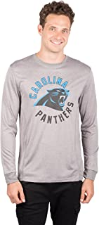 Ultra Game NFL Carolina Panthers Men's Athletic Quick Dry Long Sleeve Tee Shirt, Small, Gray