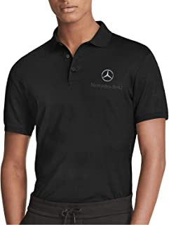 HAGHH Mens Trendy Short Sleeve Solid Color Black Sports Golf Polo Shirt for Mens T-Shirt Summer