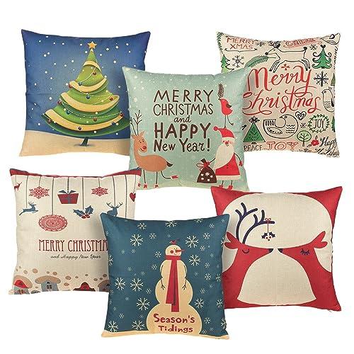 Cushion Cover Self-Conscious Merry Christmas Throw Pillow Case Snowman Pattern Decorative Pillows Cover For Sofa Seat Cushion Cover 45x45cm Home Decor Home Textile