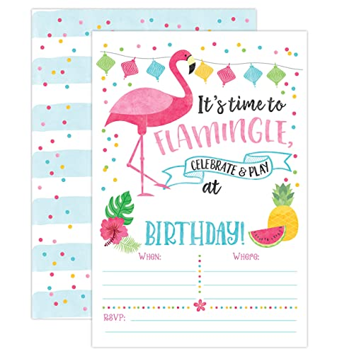Hibiscus Heat Pink Flamingo Tropical Hawaiian Luau Beach Party Invitations