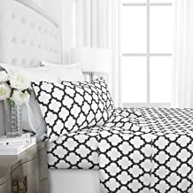 Italian Luxury 1800 Series Hotel Collection Quatrefoil Pattern Bed Sheet Set - Deep Pockets, Wrinkle and Fade Resistant, Hypoallergenic Printed Sheet and Pillow Case Set -Queen - White