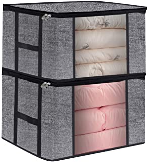 Homyfort Large Comforters Storage Bags for Clothes and Blankets, Foldable Fabric Closet Organizer Bins Box with Sturdy Zipper, Clear Window and H Shape Handles, 23.6