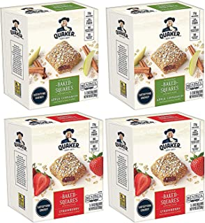 Quaker Baked Squares, Soft Baked Bars, Strawberry & Apple Cinnamon Variety Pack, 2.11oz Bars (20 Pack)