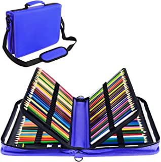 YOUSHARES 160 Slots Colored Pencil Case - Colorful Large Capacity Pen/Pencil Organizer with Strap for Watercolor Pencils, Cosmetic LipSense and Make up Brush (Blue)