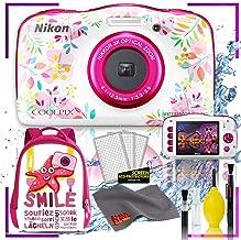 $175 » Nikon Coolpix W150 Digital Camera - Flowers (International Model) with Camera Cleaning Kit Bundle + Nikon Camera Backpack (Pink)