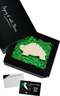 Tartaruga Fatta a Mano in Pietra. Simbolo di Buona Fortuna Determinazione Gioia di Vita Capacità di Rimanere Calmo e Forza...
