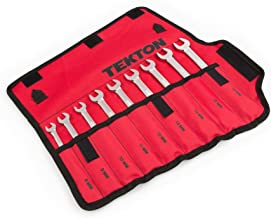TEKTON WRN57187 Flex-Head Ratcheting Combination Wrench Set with Roll-up Storage Pouch, Metric, 8 mm- 16 mm, 9-Piece