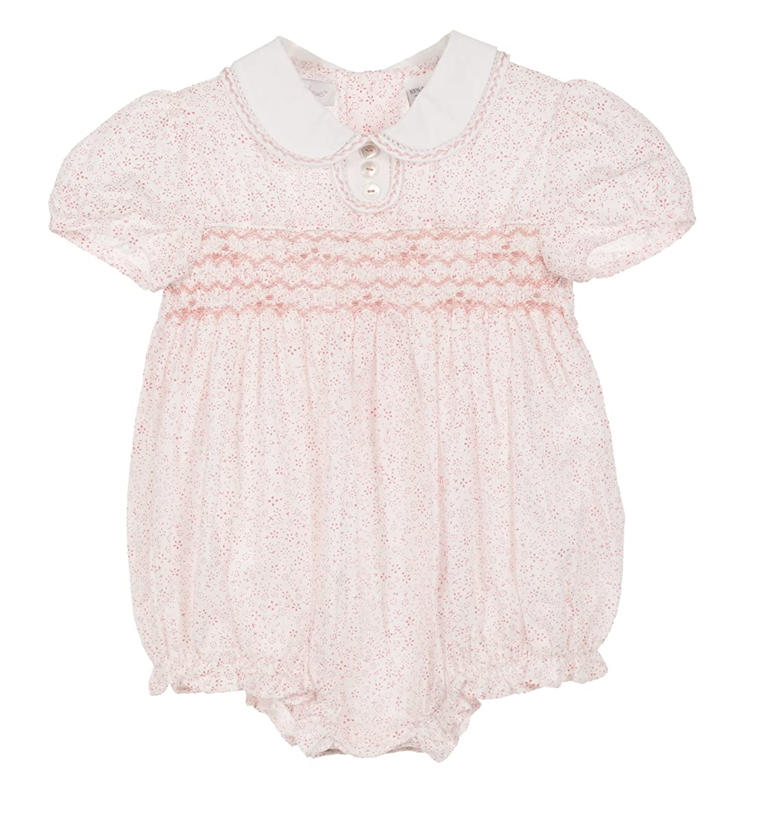 Baby Girl Bubble Pink Ditsy Flower Print Hand Smocking with Collar