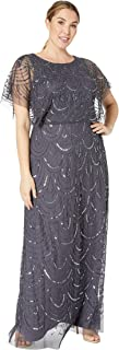 Women's Plus Size Beaded Blouson Flutter Sleeve Gown