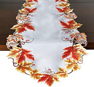 GRANDDECO Fall Harvest Table Runner13 x54, Cutwork Embroidered Maple Leaves Dresser Scarf for Home Dining Holiday Autumn H...