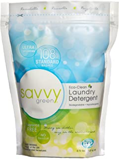 Savvy Green 108 Standard Wash Eco Clean Laundry Detergent Powder, 6 Pack, White, 16.38, Fragrance Free, 2.73 Lbs