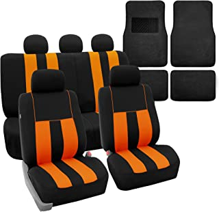 FH Group FH-FB036115 Combo Set: Striking Striped Seat Covers w. Premium Black Carpet Floor Mats, Orange/Black Color- Fit Most Car, Truck, SUV, or Van