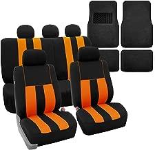 FH Group FH-FB036115 Combo Set: Striking Striped Seat Covers w. Premium Black Carpet Floor Mats, Orange/Black Color- Fit Most Car, Truck, SUV, or Van