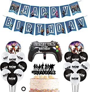Decembre Video Game Party Supplies Includes Cake Topper - 18 Latex Baloons - 3 Foil Baloons - Unique Happy Birthday Banner Perfect Battle Royale Gamer Decorations Favors for Kids. (Blue)