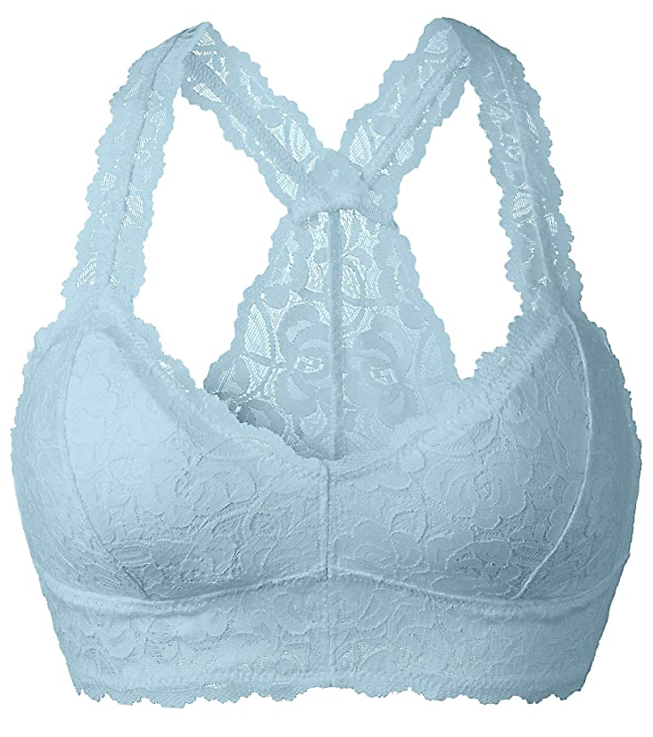 YIANNA Women Floral Lace Bralette Padded Breathable Racerback Lace Bra Bustier