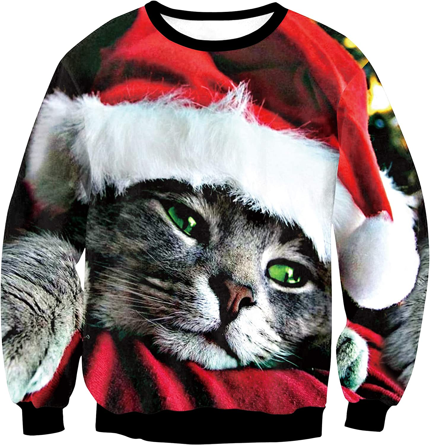 Honeystore Unisex Ugly Christmas Sweater 3D Printed Funny Pullover Sweatshirts