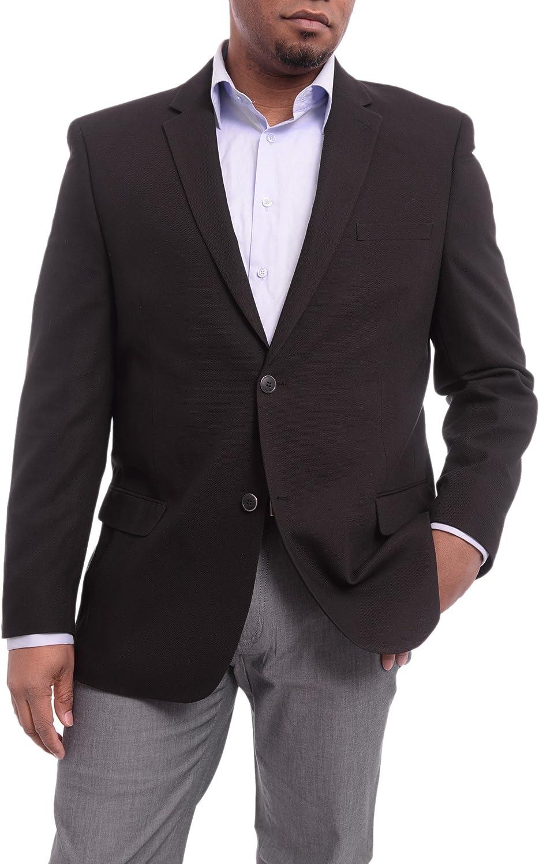 Caravelli Classic Fit Solid Black Hopsack Weave Stretch Blazer Sportcoat