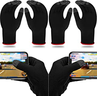 4 Pairs Game Gloves for Gaming Mobile Game Controllers Finger Gloves Set, Anti-Sweat Breathable Touch Finger Gloves Silver...