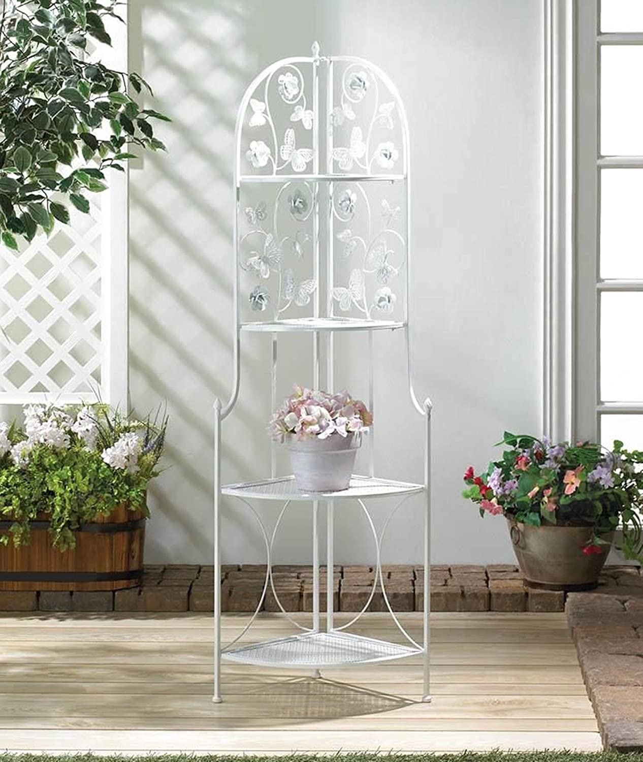 Butterfly Corner Plant Stand - 数量限定アウトレット最安価格 Butterflies White Shelf 賜物 Metal T 4