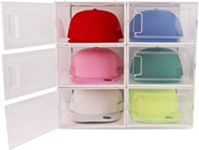 Boxy Concepts Hat Organizer for Baseball Caps (Pack of 6) - Transparent Durable Hat Storage Box with Click-Lock Door and R...