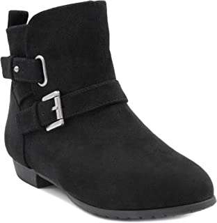 Women's Bochella Flat Ankle Bootie Boot with Double Flat Ankle Buckle Closure