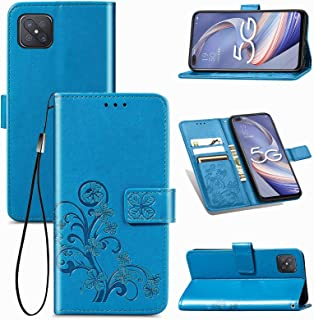 Hanlwza Case Cover Case for Oppo Reno4 Z 5G, Lucky Clover Embossment Leather Wallet Case, Strong Magnetic Clasp Flip Folio...