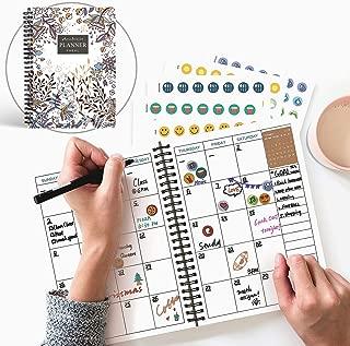 Original Design - 2019 Weekly Planner with Stickers - Calendar Year Undated Monthly Planner - 8.7