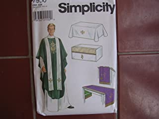 Church Vestments & Altar Cloths Simplicity Sewing Pattern 7950 ; Pastor Priest Vicar Chasuble Stole One Size