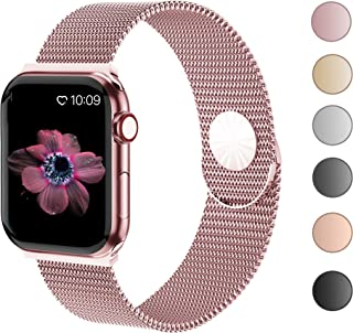 Compatible with Apple Watch Band 38mm 40mm 42mm 44mm with Case, Stainless Steel Mesh Loop for...