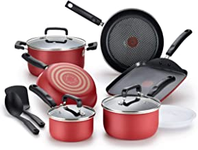 T-fal Signature Titanium Advancend Nonstick Pots and Pans Cookware Set, 12 Piece, Red