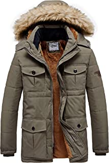 Heihuohua Men's Winter Quilted Puffer Jacket Full-Length Hooded Parka Coat