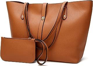 Women Large Retro Tote Bags Top Handle Satchel Faux Leather Handbags Pouch Set 2pcs