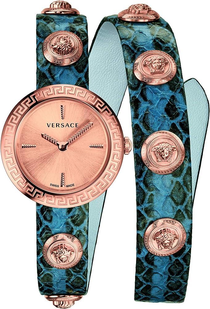 Versace - orologio da donna medusa stud icon in pelle e acciaio inox VERF00418