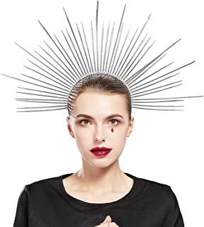 Fantherin Women's Mary Halo Crown Headband Zip Tie Spiked Halo Crown Goddess Headpiece Headdress for Cosplay Halloween Costume Party