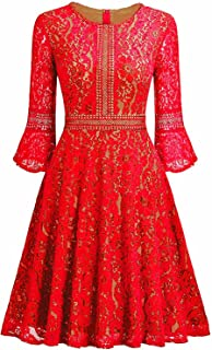 obqoo Women's Vintage Lace Contrast Bell 3/4 Sleeves Big Swing A-Line Dress