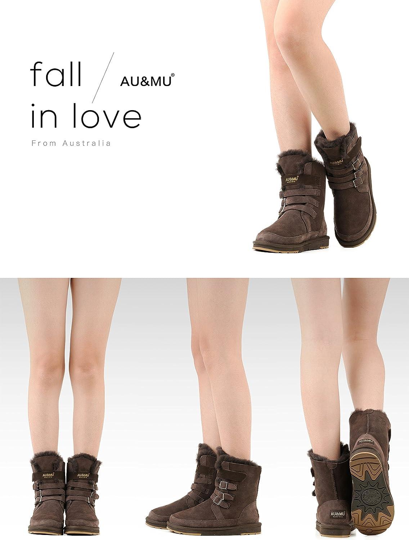 Aumu Womens Shearling Leather Sheepskin Classic Lace up Mid Calf Flat Fur Winter Snow Boots