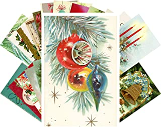 Vintage Christmas Greeting Cards 24pcs Christmas Ornaments Decorations Tree Wreath Reprint Postcard Set