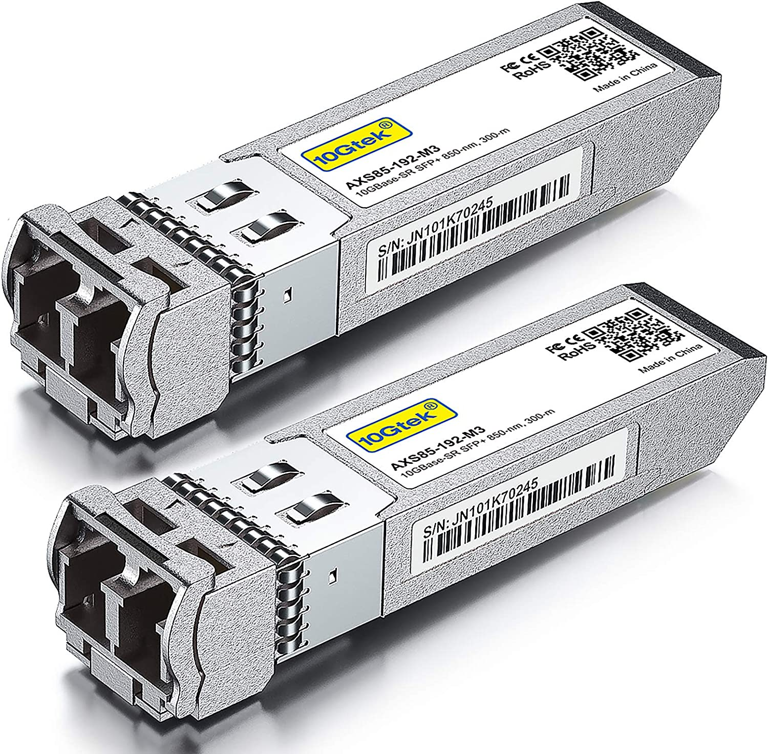 10GBase-SR SFP+ Transceiver, 10G 850nm MMF, up to 300 Meters, Compatible with Ubiquiti UniFi UF-MM-10G, Pack of 2